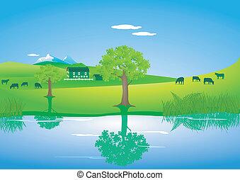 paisaje, con, vacas, en, un, lago
