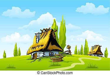 paisaje, con, viejo, casa, en, el, aldea