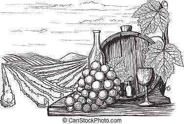 paisaje, con, vistas, de, viñas