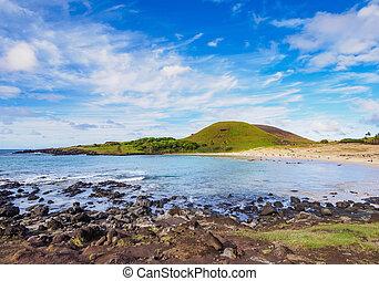 paisaje, de, anakena, en, isla de pascua, chile