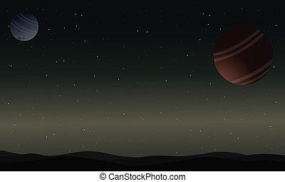 paisaje, de, espacio exterior, desierto, con, planeta