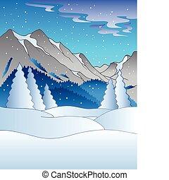 paisaje de invierno, colinas