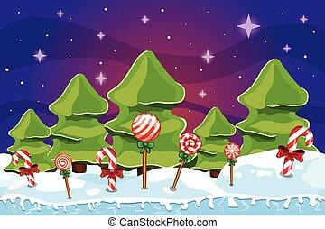 paisaje de invierno, con, árbol de navidad