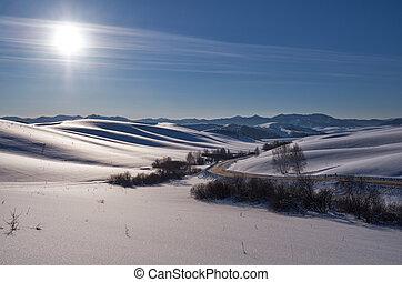 paisaje de invierno, con, camino, y, talones, debajo, nieve, con, sol, en, cielo azul