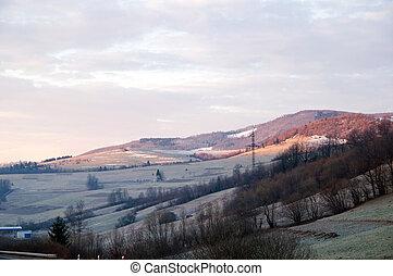 paisaje de invierno, con, montañas