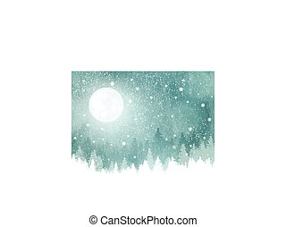 paisaje de invierno, con, nevada, árboles de abeto, y, luna llena