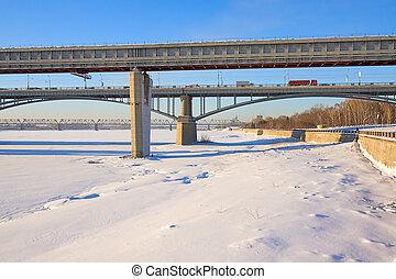 paisaje de invierno, con, puentes