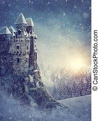 paisaje de invierno, con, viejo, castillo