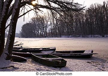 paisaje de invierno, lago