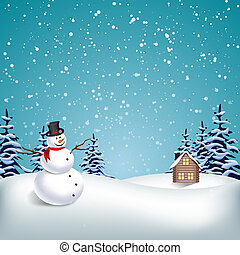paisaje de invierno, navidad