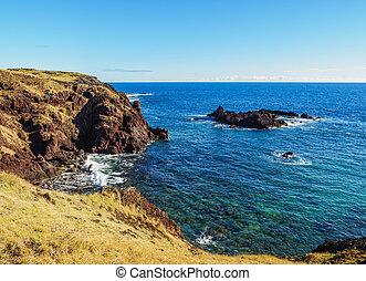 paisaje, de, isla de pascua, chile