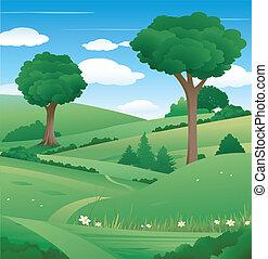 paisaje de la naturaleza, con, árbol