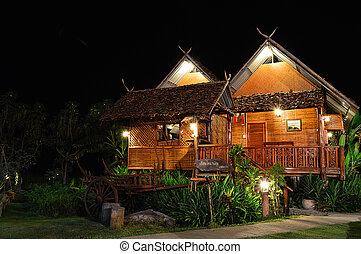 paisaje, de madera, bungalow, noche