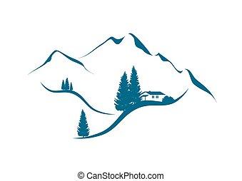 paisaje de montaña, con, cabaña, un, abetos