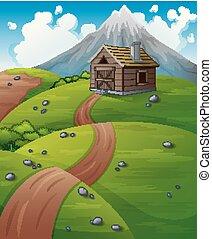 paisaje de montaña, con, de madera, cabaña, en, el, colinas