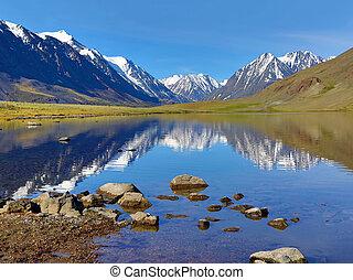 paisaje de montaña, con, lago