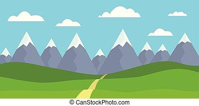 paisaje de montaña, con, nevoso, picos, con, pradera, y, pasto o césped, trayectoria, delante de, colinas, debajo, cielo azul, con, nubes, -, plano, diseño