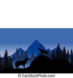 paisaje de montaña, con, un, lobo, y, un, deer., un, vector,...