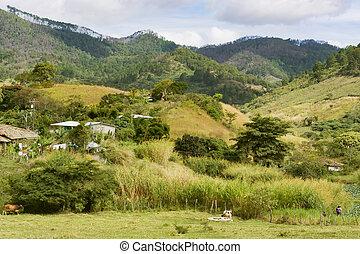 paisaje de montaña, en, central, honduras, cerca, aldea, de, el, yute