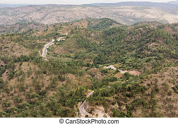 paisaje de montaña, en, el, camino, en, central, honduras