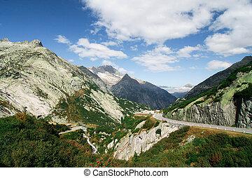 paisaje de montaña, en, switzerland.
