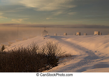 paisaje de montaña, nieve