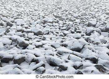 paisaje de nieve, rocas