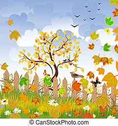 paisaje de otoño, con, un, cerca
