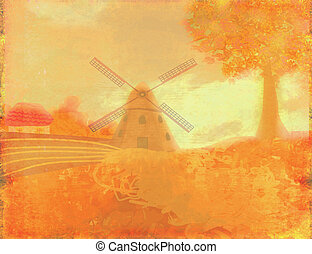 paisaje de otoño, con, windmill.