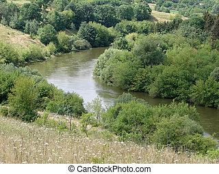 paisaje de río, corriente