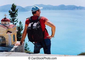 paisaje., el permanecer, turista, helénico, vista marina,...