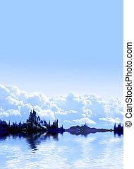 paisaje, en, fantasía, planeta