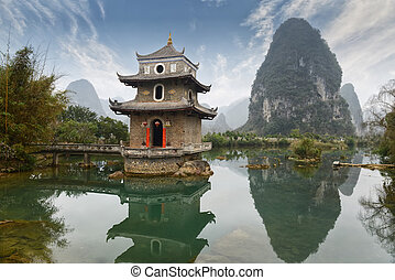 paisaje, en, yangshuo, guilin, china