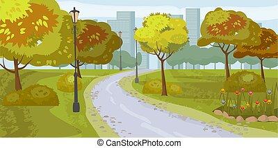 paisaje, fondo., parque público, en, el, city., vector, illustration., aislado