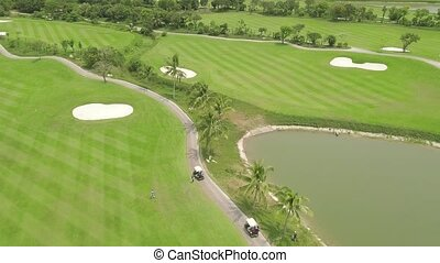 paisaje., golfista, aéreo, gente, concept., coche, cima,...