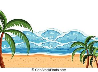 paisaje, grande, plano de fondo, mar, onda