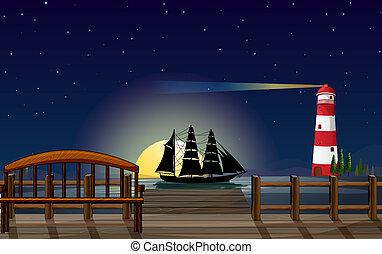 paisaje, hermoso, puerto