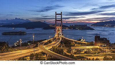 paisaje., hong, ma, puente, kong, tsing
