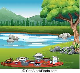 paisaje, iftar, delicioso, platos, naturaleza