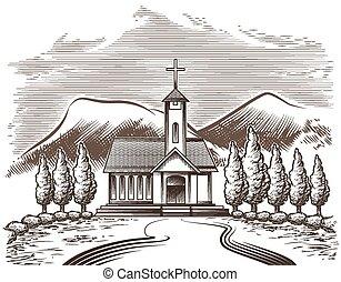 paisaje, iglesia