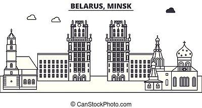 paisaje., illustration., cityscape, belarus, señales, vector, vistas, famoso, línea, contorno, ciudad, lineal, minsk