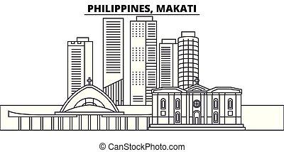 paisaje., illustration., cityscape, filipinas, señales, vector, vistas, famoso, makati, línea, contorno, ciudad, lineal