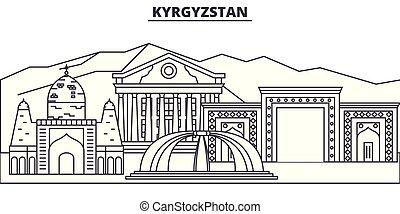 paisaje., illustration., cityscape, señales, vistas, vector, famoso, línea, contorno, ciudad, lineal, kyrgyzstan