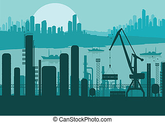 paisaje, industrial, plano de fondo, ilustración, fábrica