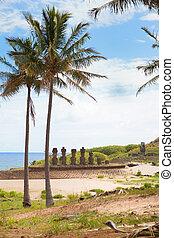 paisaje, isla de pascua, con, estatuas