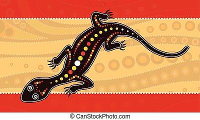 paisaje, lagarto, lagarto, estilo, punto, plano de fondo, vector, aborigen, painting., ilustración, arte, basado