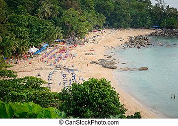 paisaje, leam, playa, phuket, cantar, vista, punto