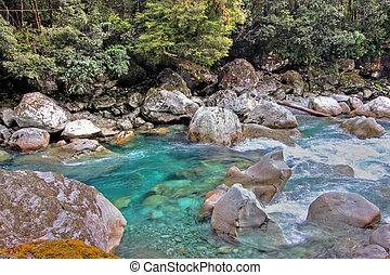 paisaje, montaña, río