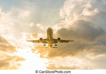 paisaje, nai, playa, phuket, avión, provincia, yang, ocaso, ...
