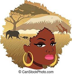 paisaje, niña, 2, africano